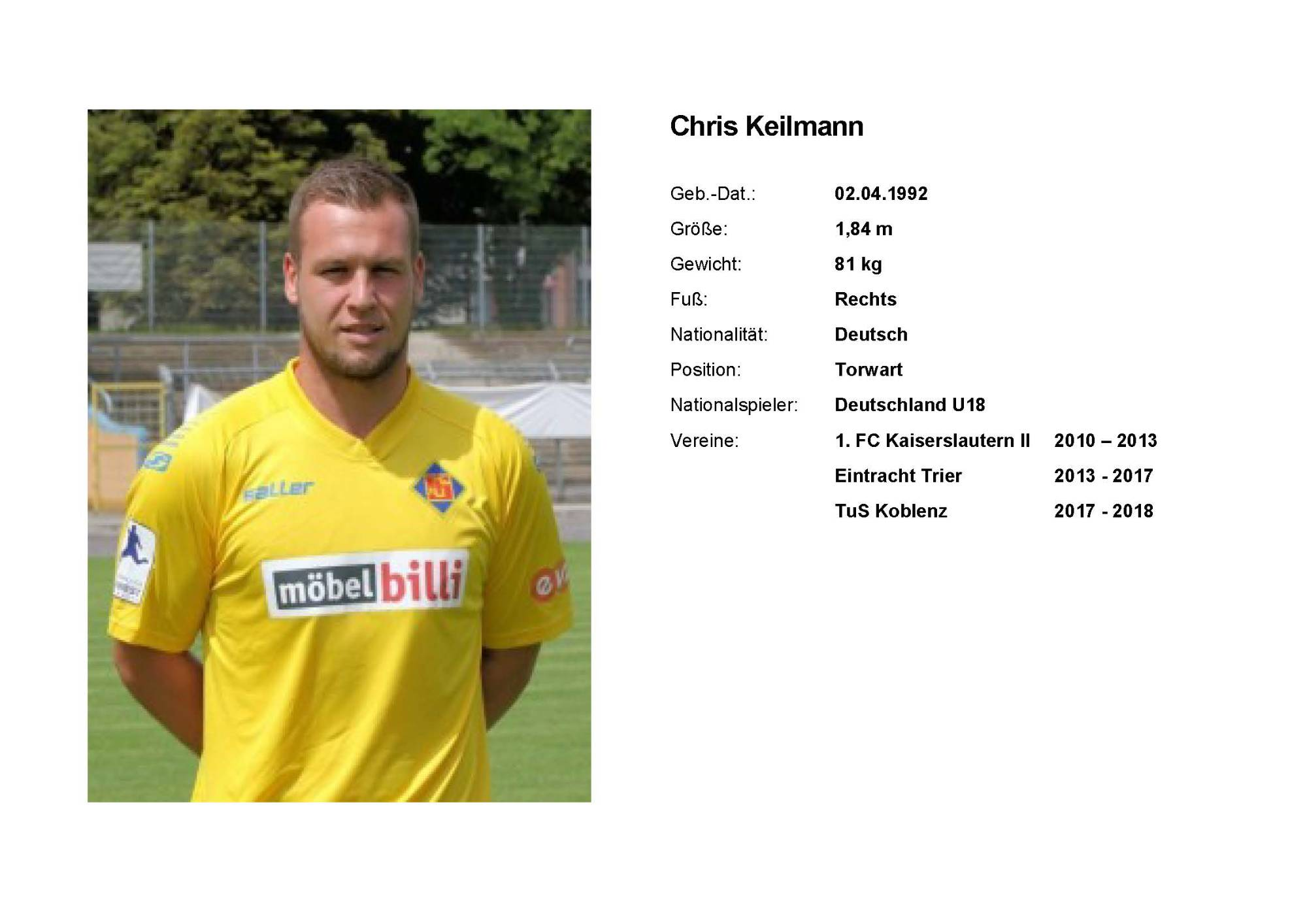 Chris Keilmann, Torwart